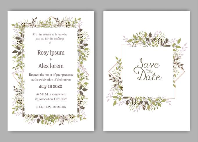 Wedding invite, invitation, save the date card design with elegant lavender  garden  anemone. vector