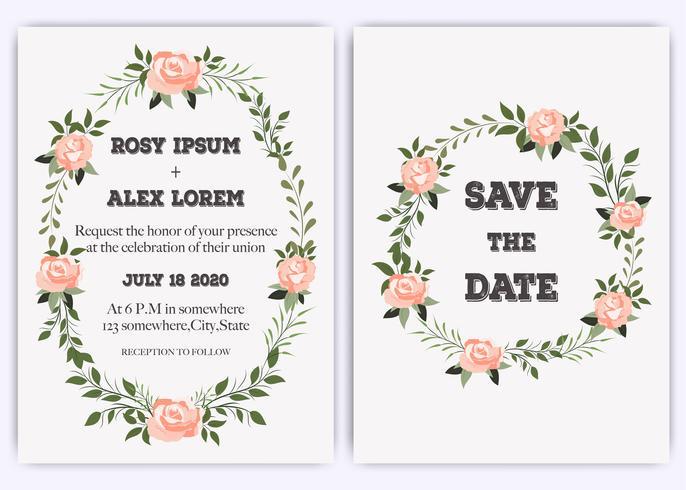 Invitation de mariage, invitation, faites gagner la carte de date avec une élégante anémone rose rose lavande. vecteur