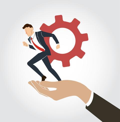 hand holding Empresário correndo com engrenagem