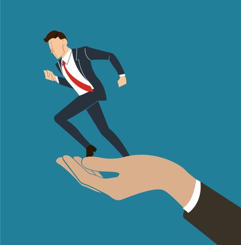 Hand, die laufenden Geschäftsmannvektor hält