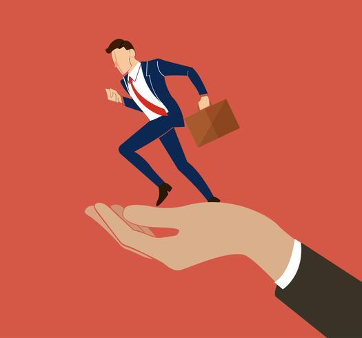hand holding running businessman