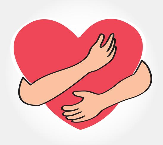 abrazar el corazon vector
