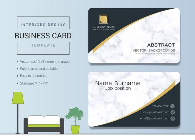 Modelo de cartão de nome comercial para designer de interiores.