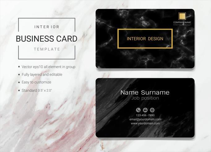 Modelo de cartão de nome de negócio interior.