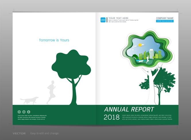 Cover design annual report, Green energy concept.