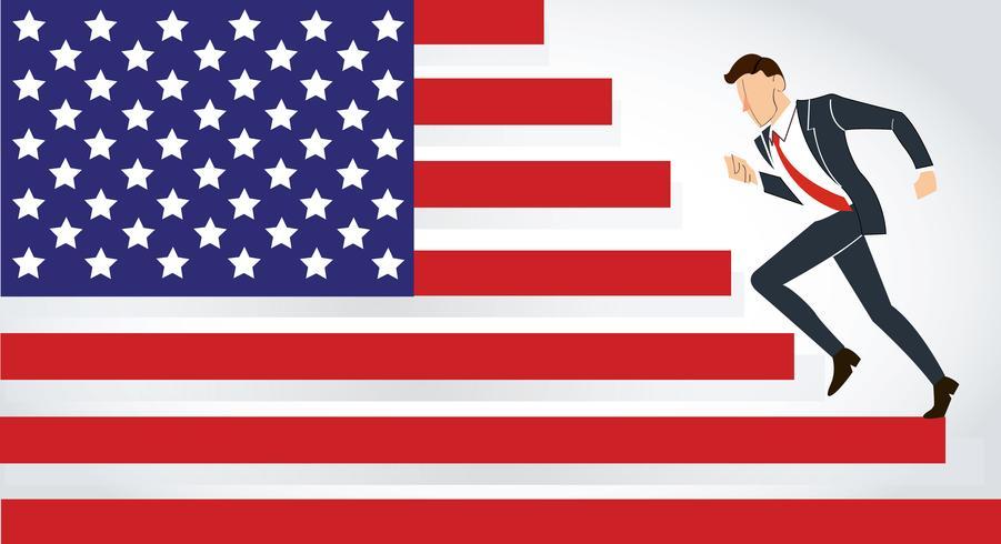 hombre de negocios corriendo Estados Unidos, corriendo América