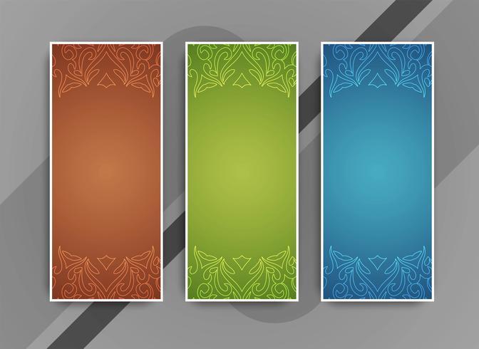 Conjunto de bandeiras modernas coloridas abstratas