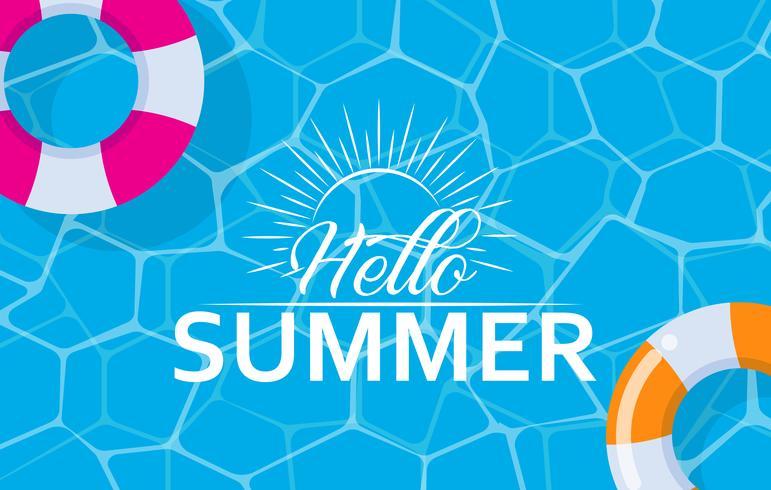 Hallo Sommernetzfahne mit Schwimmenring auf Pooloberflächenhintergrund