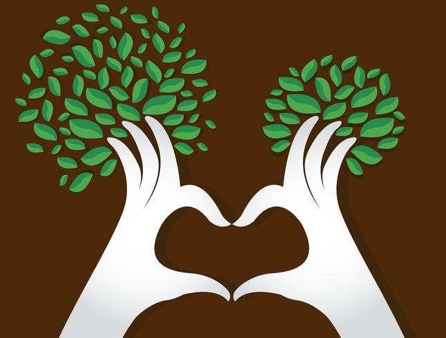 handen hartvorm met bladeren, natuurliefhebbers, Wereldmilieudag