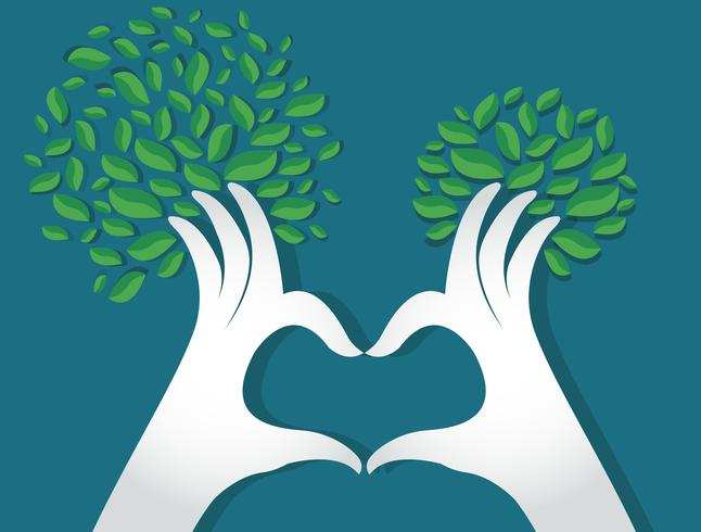 Manos en forma de corazón con hojas, amantes de la naturaleza, Día Mundial del Medio Ambiente.