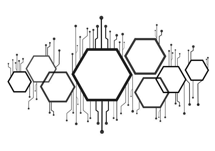 Resumen abeja colmena, hexágono y tecnología línea de fondo
