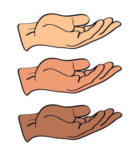 mão segurando, vetor presente de mão