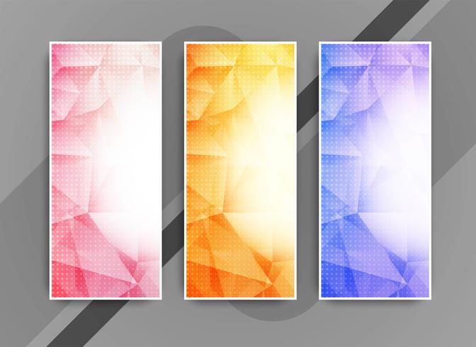 Conjunto de bandeiras de negócios elegante colorido abstrato