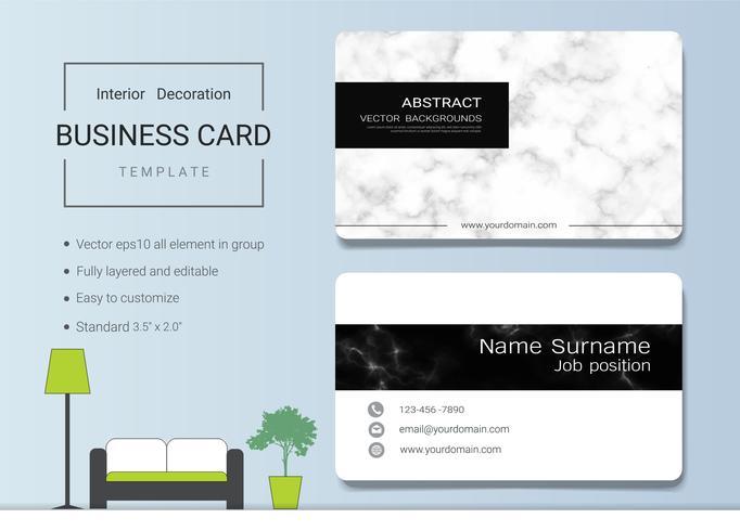 Modello di biglietto da visita per interior designer.