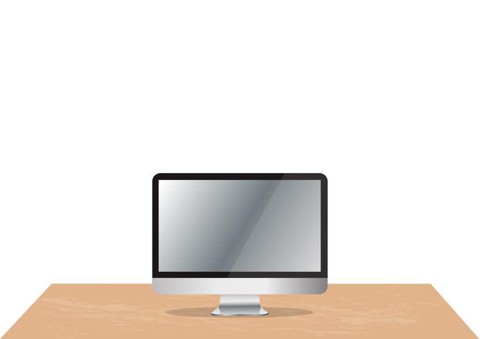 computer sulla scrivania e lo spazio di fondo