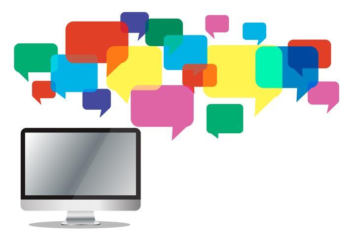 Computadora con una colorida caja de chat, fondo de comunicación de cuadro de mensaje vector