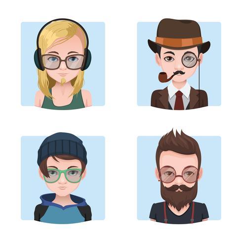 Colección de chicos hipster vector