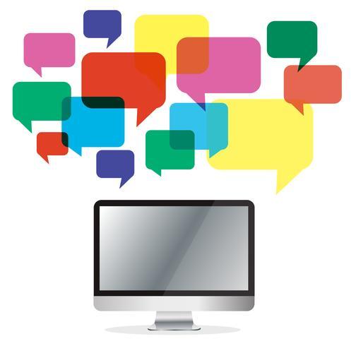 Computer mit bunten Chat-Box, Message Box Kommunikationshintergrund vektor