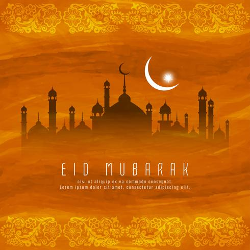 Abstract Eid mubarak Islamic religious background vector