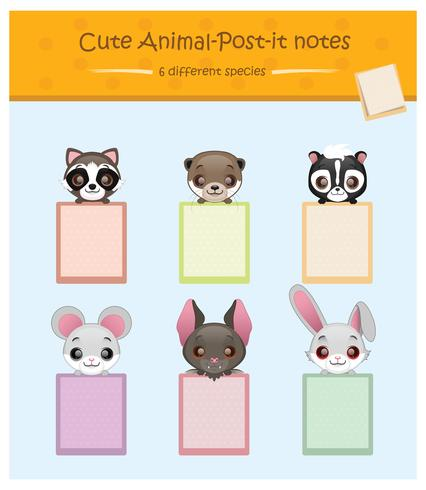Coleção de titulares de bloco de notas de animais fofos