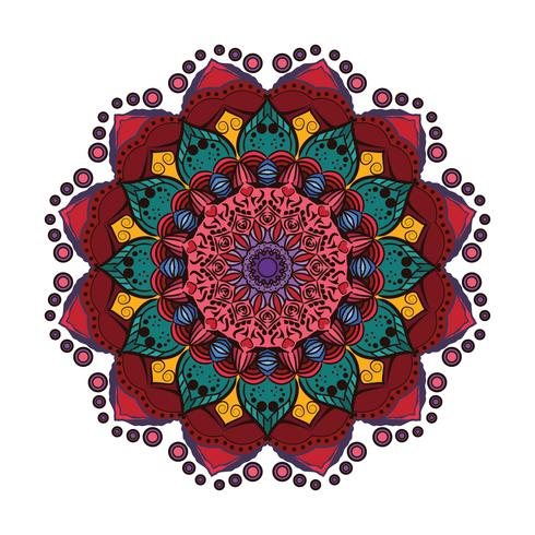 Precioso mandala colorido 5 vector