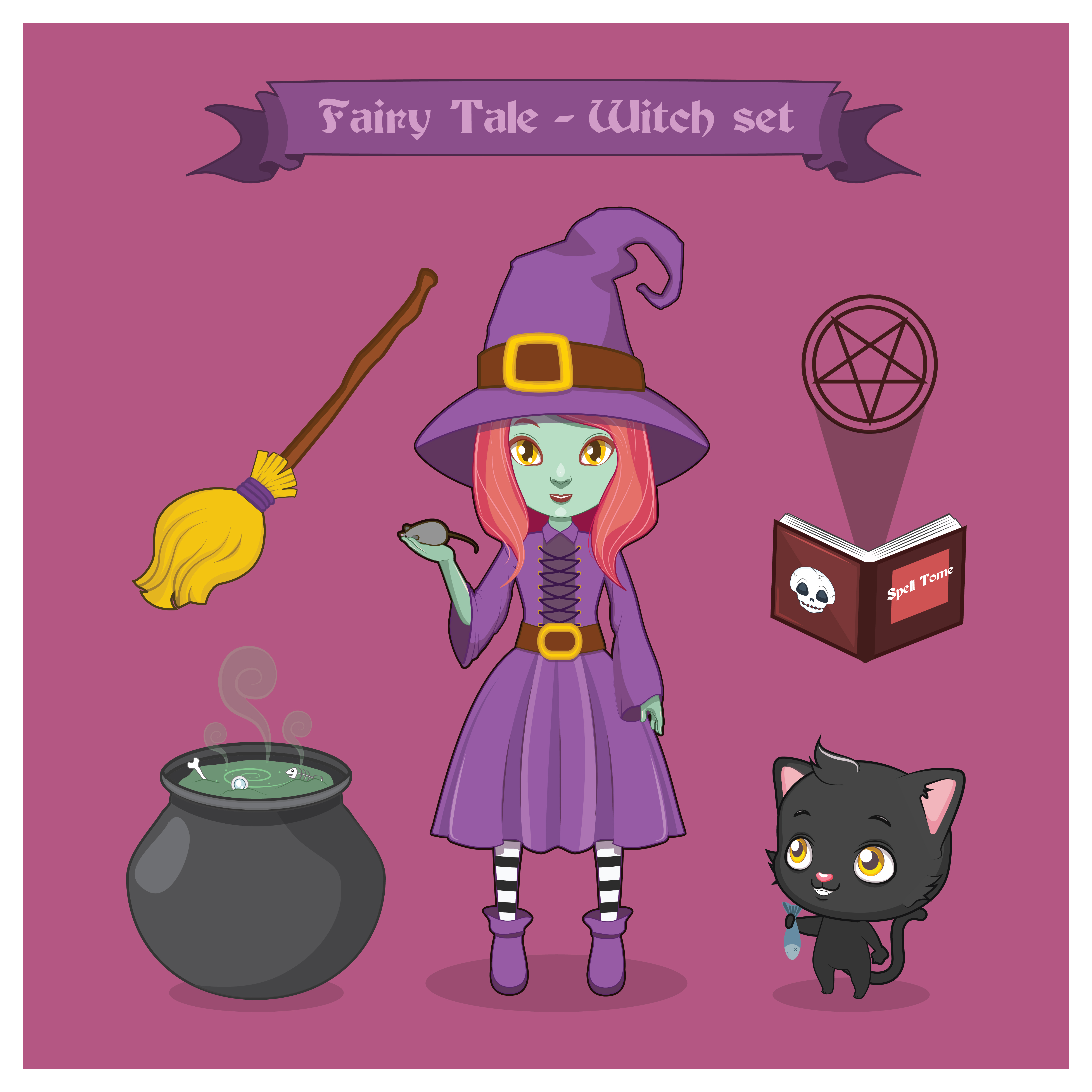 Cute Cat Face Illustration Set: Fairy Tale Witch Set 532419 Vector Art At Vecteezy