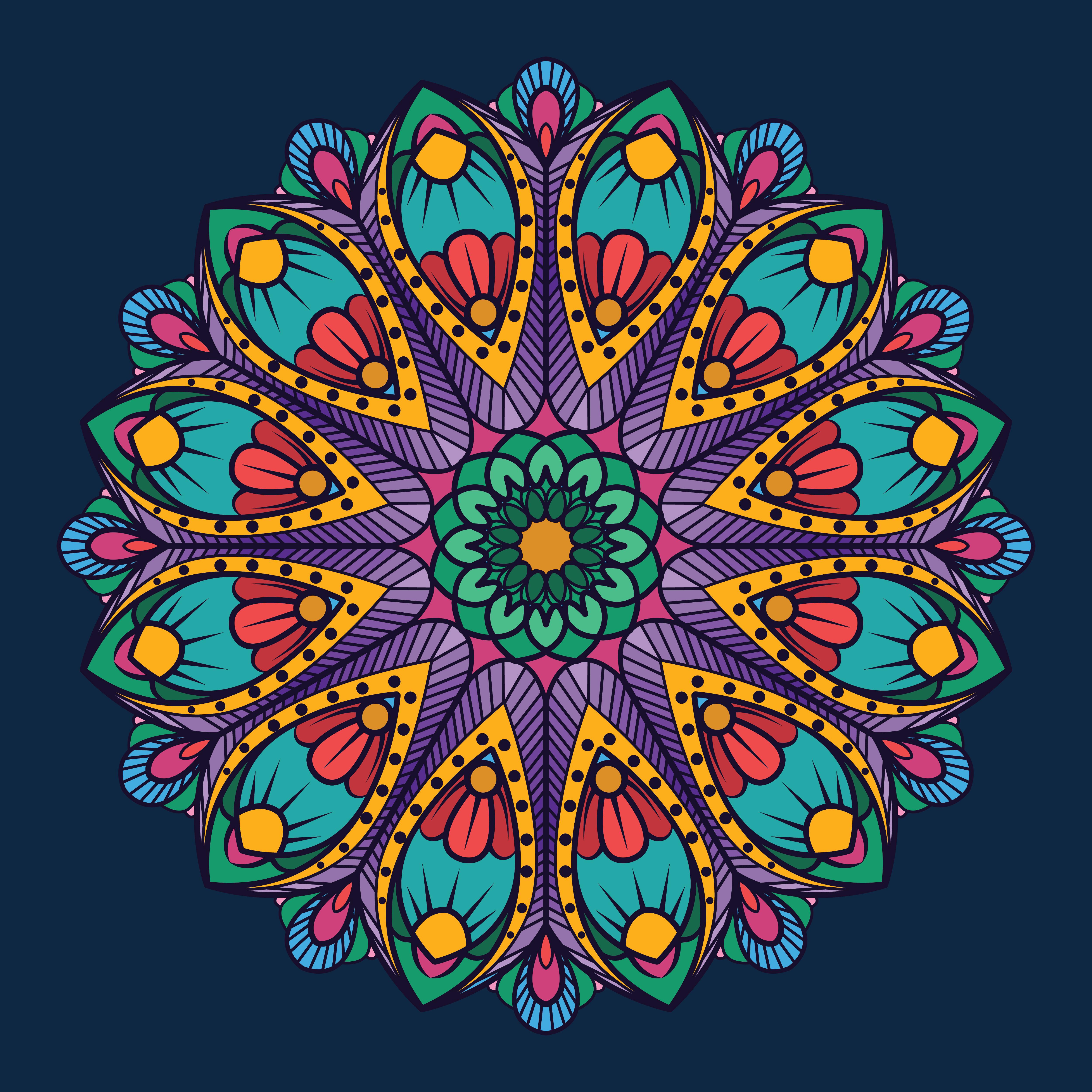 Ornamental Mandala On Dark Blue Background