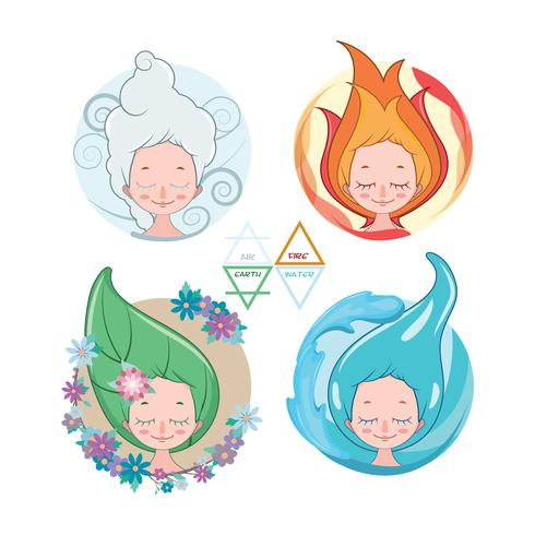 Colección de mujeres que representan los cuatro elementos.