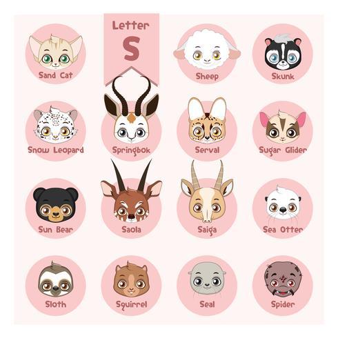 Alfabeto retrato animal - letra S vetor
