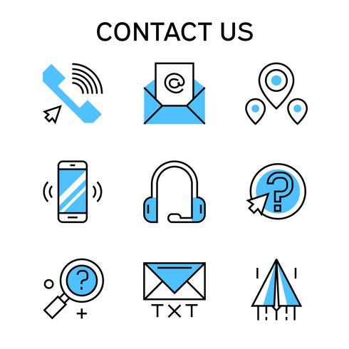 Iconos de línea plana con color azul para empresa de contacto, equipo de contacto y negocio