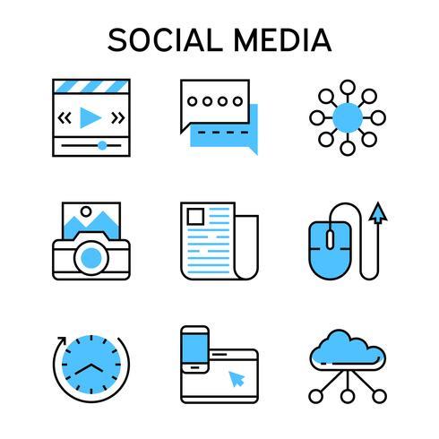 Icônes de ligne plate de couleur bleue pour le marketing des médias sociaux, les médias numériques, les sites Web sociaux, les applications, les plateformes, Internet et les réseaux.