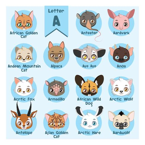 Alfabeto retrato de animal - letra A
