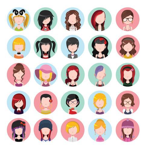 Icone delle donne colorate piatte vettore