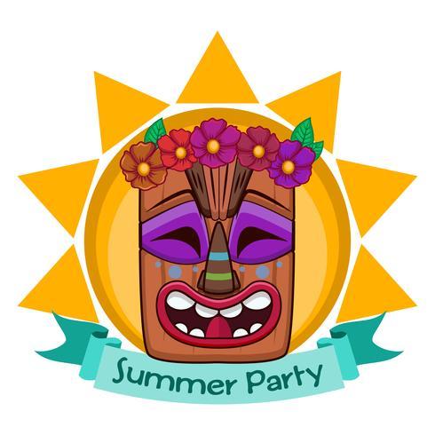 Tiki-gezicht ontwerp met banner