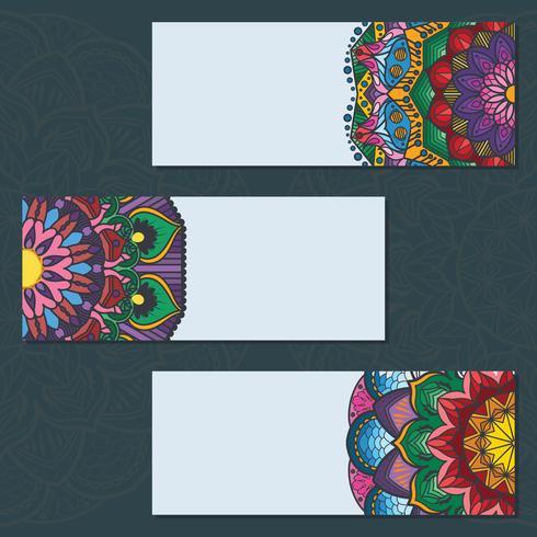 Colección de coloridos carteles de mandala sobre fondo azul vector