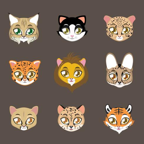 Different Cats Print vector