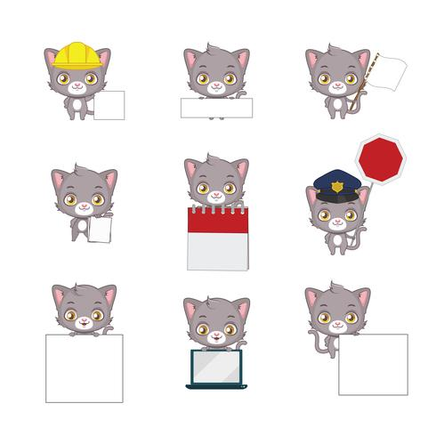 Posizioni funzionali del gatto grigio sveglio
