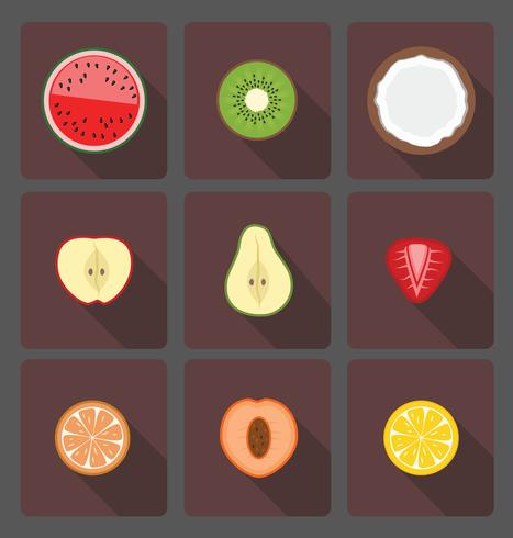 Einfache Illustration von Fruchthälften mit langem Schatten