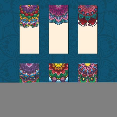 Colección de tarjetas coloridas mandala