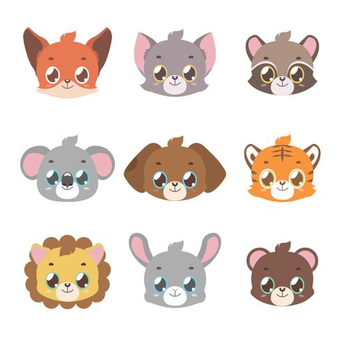 Cute animal faces in pastel coloring