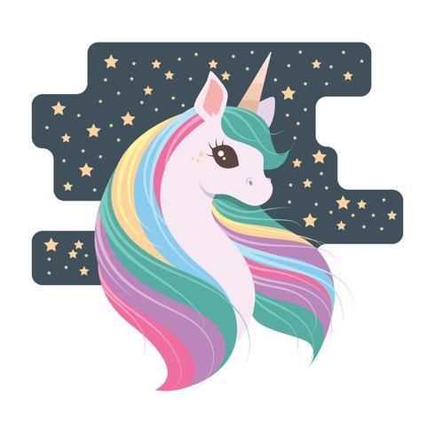 Lovely unicorno con sfondo stellato