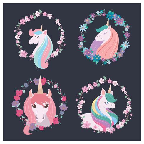 Collection de quatre belles licornes vecteur