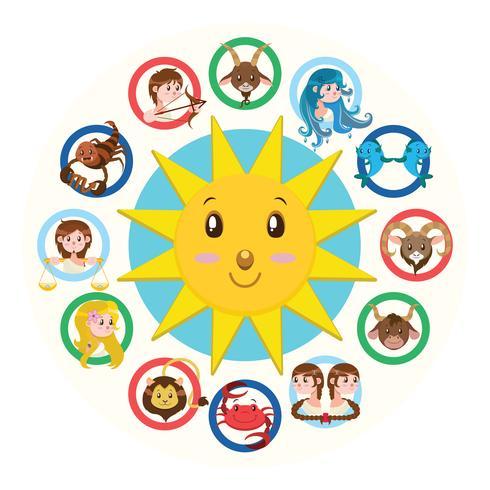 Doce signos de la ilustración del zodiaco versión 2.