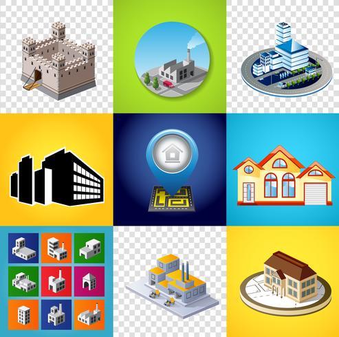 Satz Gebäudebilder