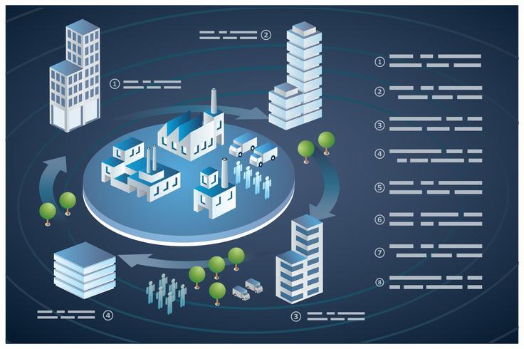 Isometrische gebouwen stad