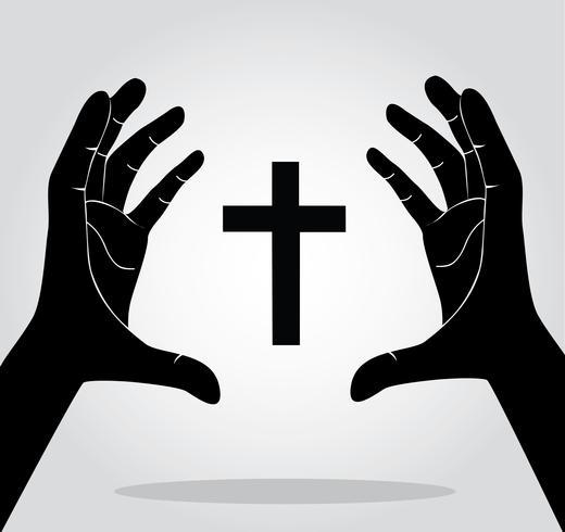 mani che tengono la croce vettore