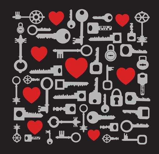 Heart and Keys Pattern