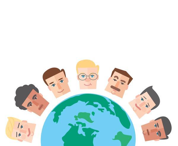 gens de bande dessinée autour du vecteur de fond du monde