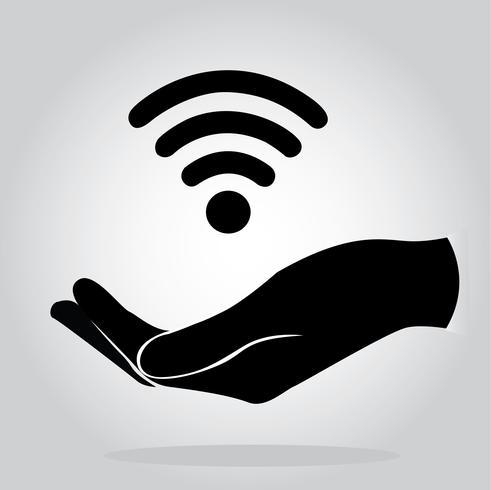 mains tenant Wifi icône symbole vecteur