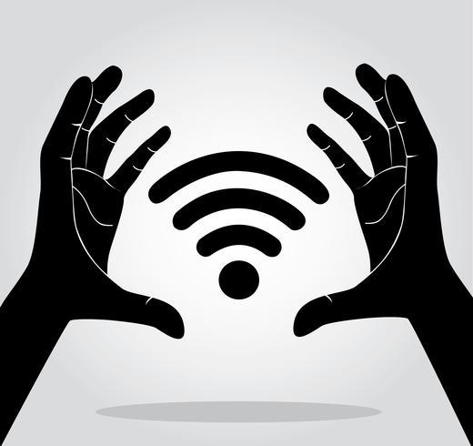 mani che tengono il vettore simbolo icona Wifi